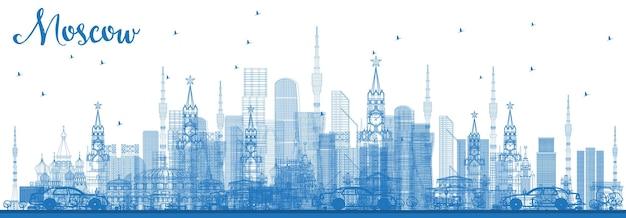 파란색 건물 개요 모스크바 러시아 스카이 라인. 벡터 일러스트 레이 션. 현대 건축과 비즈니스 여행 및 관광 그림입니다. 랜드마크가 있는 모스크바 풍경.