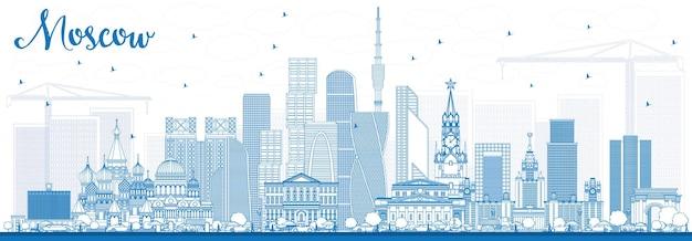 Наброски москва россия skyline с синими зданиями. векторные иллюстрации. деловые поездки и туризм иллюстрация с современной архитектурой.