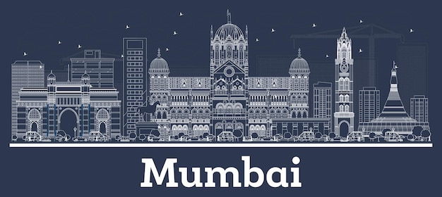 Outline mumbai india city skyline with white buildings. vector illustration. business travel and concept with modern architecture. mumbai cityscape with landmarks.