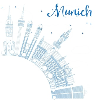 Outline munich skyline with blue buildings and copy space. vector illustration. business travel and tourism concept with historic architecture. image for presentation banner placard and web site