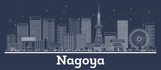 Outline nagoya japan city skyline with white buildings. vector illustration. business travel and concept with modern architecture. nagoya cityscape with landmarks.