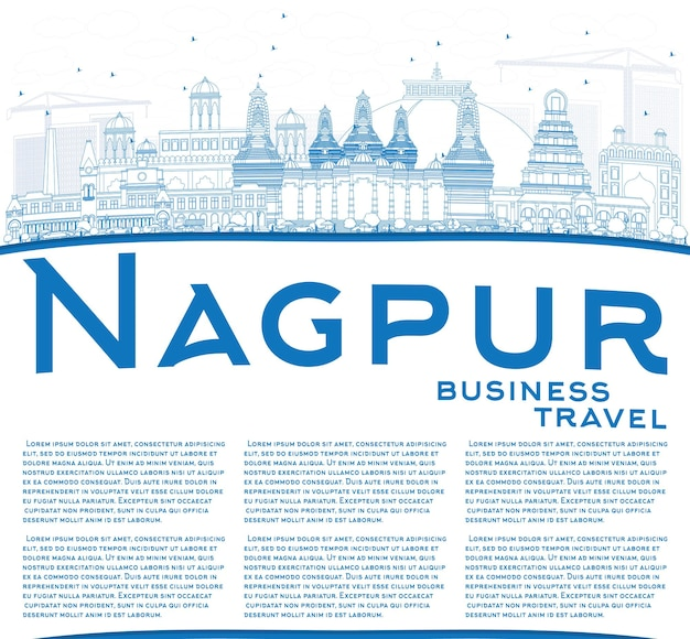 Outline nagpur skyline with blue buildings and copy space. vector illustration. business travel and tourism concept with historic architecture. image for presentation banner placard and web site.