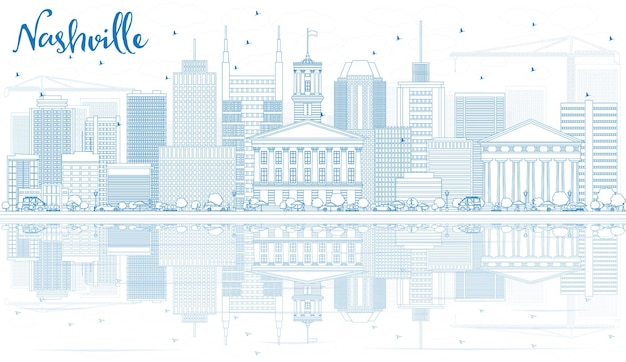 Outline nashville skyline with blue buildings and reflections. vector illustration. business travel and tourism concept with modern architecture. image for presentation banner placard and web site.
