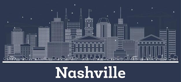 Очертите горизонт города нэшвилл, штат теннесси, сша, с белыми зданиями. иллюстрация