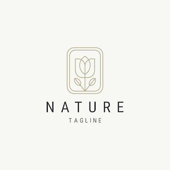 アウトライン自然の葉のロゴデザインテンプレート