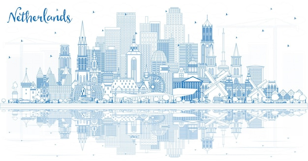 파란색 건물 개요 네덜란드 스카이 라인. 벡터 일러스트 레이 션. 역사적인 건축과 관광 개념입니다. 랜드마크가 있는 도시 풍경. 암스테르담. 로테르담. 헤이그. 위트레흐트.
