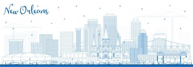 青い建物でニューオーリンズルイジアナ市のスカイラインの概要を説明します。