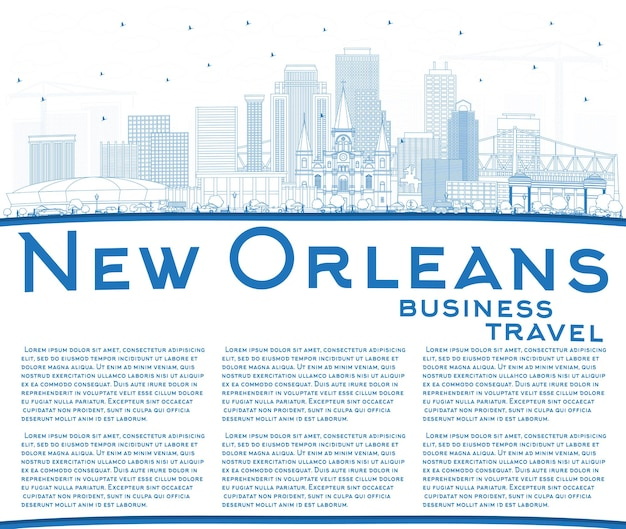 Outline new orleans louisiana city skyline with blue buildings