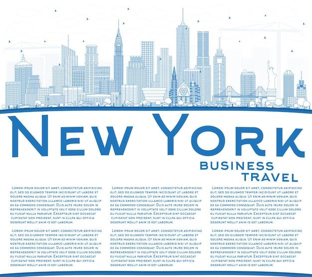 파란색 건물 및 복사 공간이 있는 뉴욕 미국 도시 스카이라인 개요. 벡터 일러스트 레이 션. 현대 건축과 비즈니스 여행 및 관광 개념입니다. 랜드마크가 있는 뉴욕의 풍경.