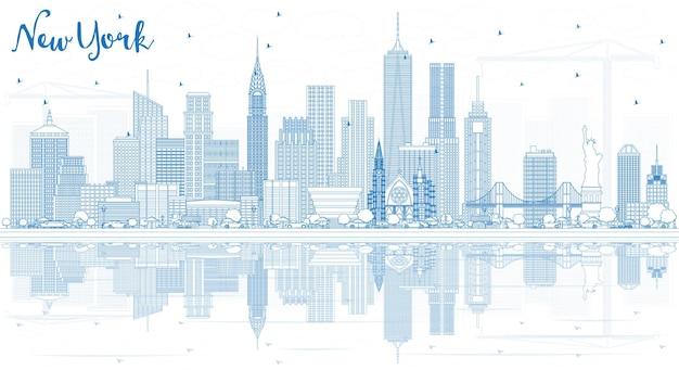 파란색 건물과 반사가 있는 뉴욕 미국 도시 스카이라인 개요. 벡터 일러스트 레이 션. 현대 건축과 비즈니스 여행 및 관광 개념입니다. 랜드마크가 있는 뉴욕의 풍경.