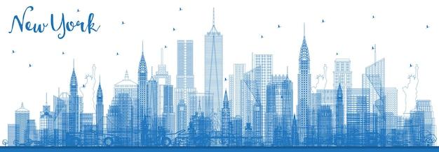 青い建物でニューヨークusaシティスカイラインの概要を説明します。図 Premiumベクター