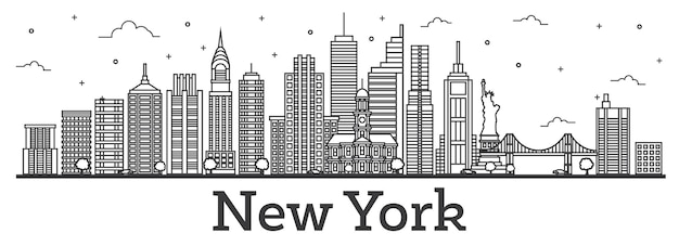 Outline new york usa city skyline with modern buildings isolated on white. vector illustration. new york cityscape with landmarks.