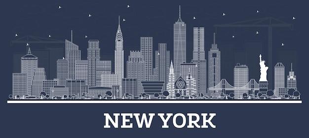 흰색 건물이 있는 뉴욕 미국 도시 스카이라인 개요. 삽화