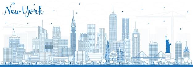 파란색 건물이 있는 뉴욕 미국 스카이라인 개요. 벡터 일러스트 레이 션. 현대 건축과 비즈니스 여행 및 관광 개념입니다.