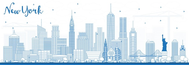 Outline new york usa skyline with blue buildings. vector illustration. business travel and tourism concept with modern architecture.