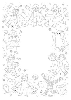 План детей в маскарадном костюме хэллоуина для уловки или лечения. шаблон для рекламной брошюры. счастливый хэллоуин концепции.