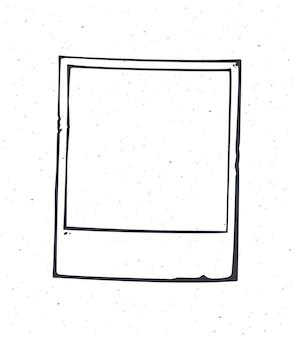 インスタントフォトフレームの概要ベクトルイラスト空のレトロな写真カード手描きインクスケッチ