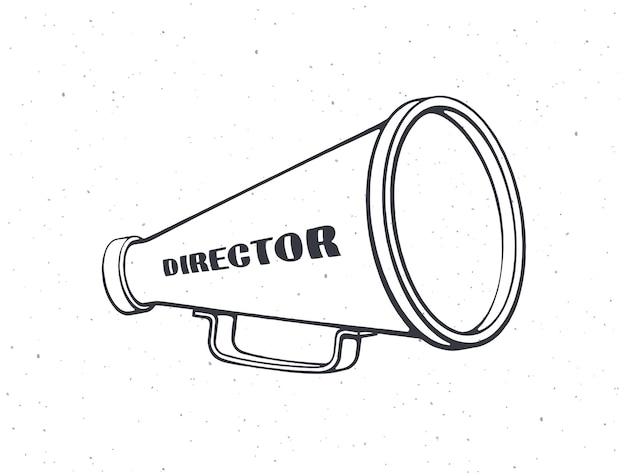 Наброски ретро мегафона со словом директор винтаж рука громкоговоритель векторные иллюстрации