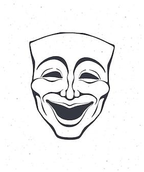 Очертание маски театральной комедии оперная маска для счастливого актера векторная иллюстрация