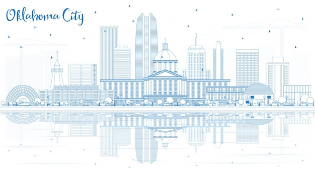 Outline oklahoma city skyline with blue buildings and reflections. vector illustration. business travel and tourism concept with modern architecture. oklahoma city cityscape with landmarks.