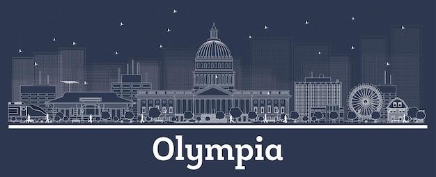 Очертите горизонт олимпии вашингтон с белыми зданиями. иллюстрация