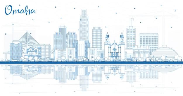 Очертите горизонт города омаха небраска с синими зданиями и отражениями. векторные иллюстрации. деловые поездки и концепция туризма с исторической архитектурой. омаха сша городской пейзаж с достопримечательностями.