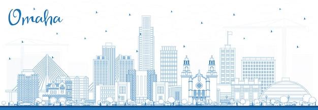 Очертите горизонт города омаха небраска с синими зданиями. векторные иллюстрации. деловые поездки и концепция туризма с исторической архитектурой. омаха сша городской пейзаж с достопримечательностями.
