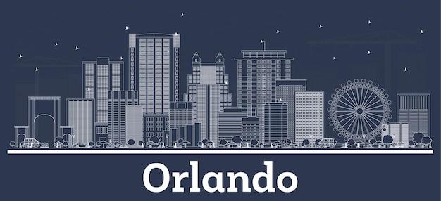 Очертите горизонт орландо флорида с белыми зданиями. векторные иллюстрации. деловые поездки и концепция туризма с исторической архитектурой. орландо, сша, городской пейзаж с достопримечательностями.