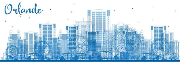 Очертите горизонт орландо с голубыми зданиями. векторные иллюстрации. деловые поездки и концепция туризма с орландо-сити. изображение для презентационного баннера и веб-сайта.