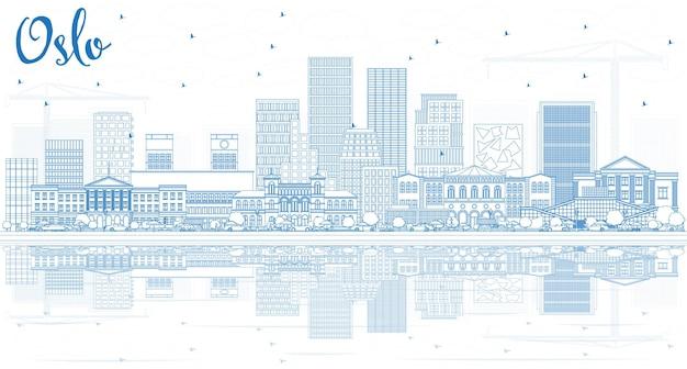 파란색 건물 및 반사와 오슬로 노르웨이 도시 스카이 라인 개요. 벡터 일러스트 레이 션. 현대 건축과 비즈니스 여행 및 관광 그림입니다. 랜드마크가 있는 오슬로 도시 풍경.