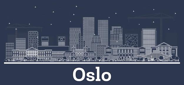 흰색 건물이 있는 오슬로 노르웨이 도시 스카이라인 개요. 벡터 일러스트 레이 션. 현대 건축과 비즈니스 여행 및 관광 개념입니다. 랜드마크가 있는 오슬로 도시 풍경.