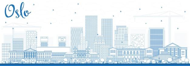 파란색 건물 개요 오슬로 노르웨이 스카이 라인. 벡터 일러스트 레이 션. 현대 건축과 비즈니스 여행 및 관광 그림입니다.