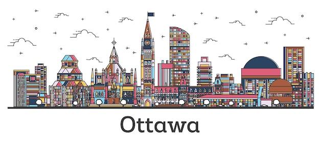 白で隔離された色の建物でオタワカナダの街のスカイラインの概要を説明します。ベクトルイラスト。ランドマークのあるオタワの街並み。