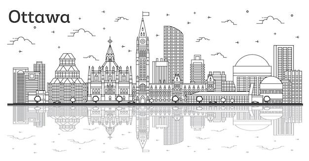 Наброски горизонта города оттава канада с современными зданиями и размышлениями, изолированными на белом. векторные иллюстрации. городской пейзаж оттавы с достопримечательностями.