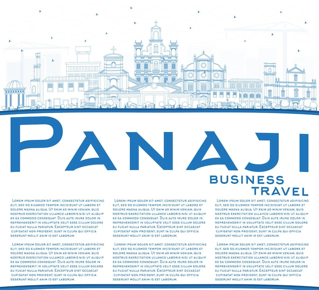 Outline panaji india city skyline with blue buildings and copy space. vector illustration. business travel and tourism concept with historic architecture. panaji cityscape with landmarks.