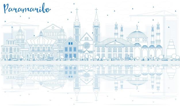 青い建物と反射でパラマリボのスカイラインの概要を説明します。ベクトルイラスト。近代建築とビジネス旅行と観光の概念。プレゼンテーションバナープラカードとwebサイトの画像。