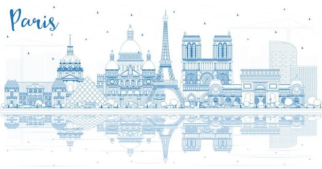 Очертите горизонт города париж франция с синими зданиями и размышлениями. векторные иллюстрации. деловые поездки и концепция с исторической архитектурой. городской пейзаж парижа с достопримечательностями.