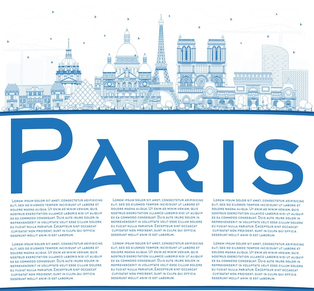 Outline paris france city skyline with blue buildings and copy space. vector illustration. business travel and concept with historic architecture. paris cityscape with landmarks.
