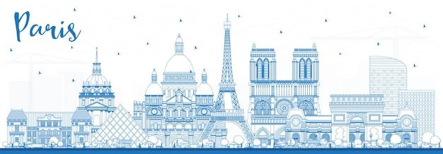 파란색 건물 개요 파리 프랑스 도시 스카이 라인. 벡터 일러스트 레이 션. 역사적인 건축과 비즈니스 여행 및 개념. 랜드마크가 있는 파리의 풍경
