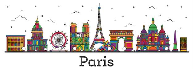 흰색 절연 색상 건물 개요 파리 프랑스 도시의 스카이 라인. 벡터 일러스트 레이 션. 랜드마크가 있는 파리의 풍경.