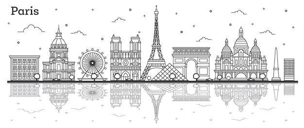 역사적인 건물과 반사 흰색 절연 개요 파리 프랑스 도시의 스카이 라인. 벡터 일러스트 레이 션. 랜드마크가 있는 파리의 풍경.
