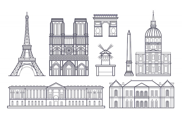 Outline paris landscape, france vector landmarks icons