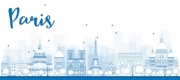 Outline paris skyline with blue landmarks