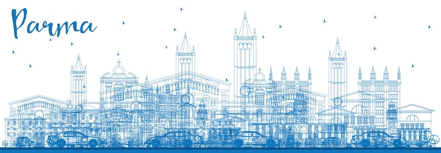 Outline parma skyline with blue buildings. vector illustration. business travel and tourism concept with historic buildings. image for presentation banner placard and web site.