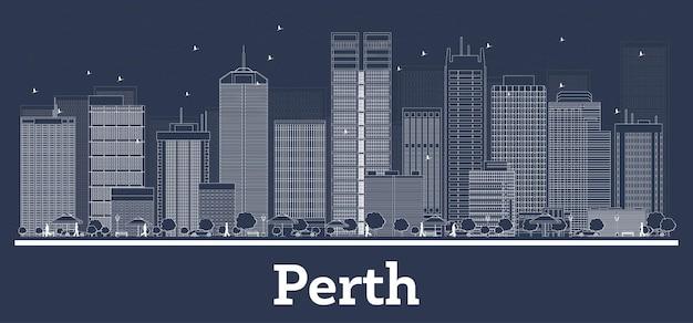 흰색 건물이 있는 퍼스 호주 도시 스카이라인 개요. 벡터 일러스트 레이 션. 비즈니스 여행 및 현대 건축 개념. 랜드마크가 있는 퍼스 도시 풍경.