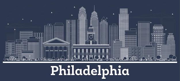 Наброски на фоне линии горизонта города пенсильвании филадельфии с белыми зданиями. иллюстрация