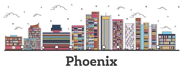 Наброски на фоне линии горизонта города феникс аризона с цветными зданиями, изолированными на белом. векторные иллюстрации. городской пейзаж сша феникс с достопримечательностями.
