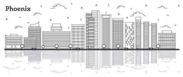 Наброски на фоне линии горизонта города феникс аризона с современными зданиями и размышлениями, изолированными на белом. векторные иллюстрации. городской пейзаж сша феникс с достопримечательностями.