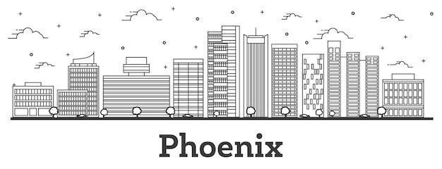 Наброски на фоне линии горизонта города феникс аризона с современными зданиями, изолированными на белом. векторные иллюстрации. городской пейзаж сша феникс с достопримечательностями.