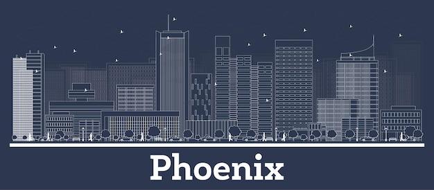 Очертите горизонт города феникс аризона с белыми зданиями. векторные иллюстрации. деловые поездки и концепция с современной архитектурой. городской пейзаж феникса с достопримечательностями